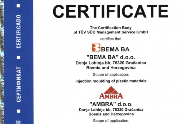 BEMA BA successfully confirms ISO 9001 certificate